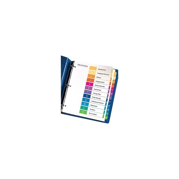 avery table of contents template 12 tab