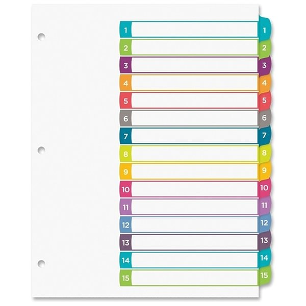 Avery 15 Tab Table Of Contents Color Template Avery Avery Ready Index Table Of Contents Dividers 1 15