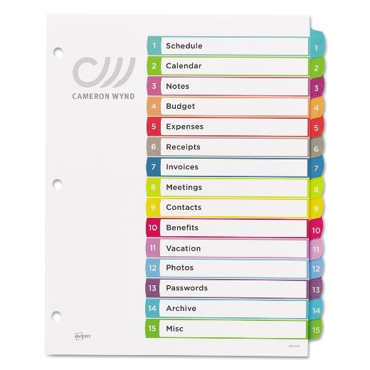 avery 25 tab table of contents template