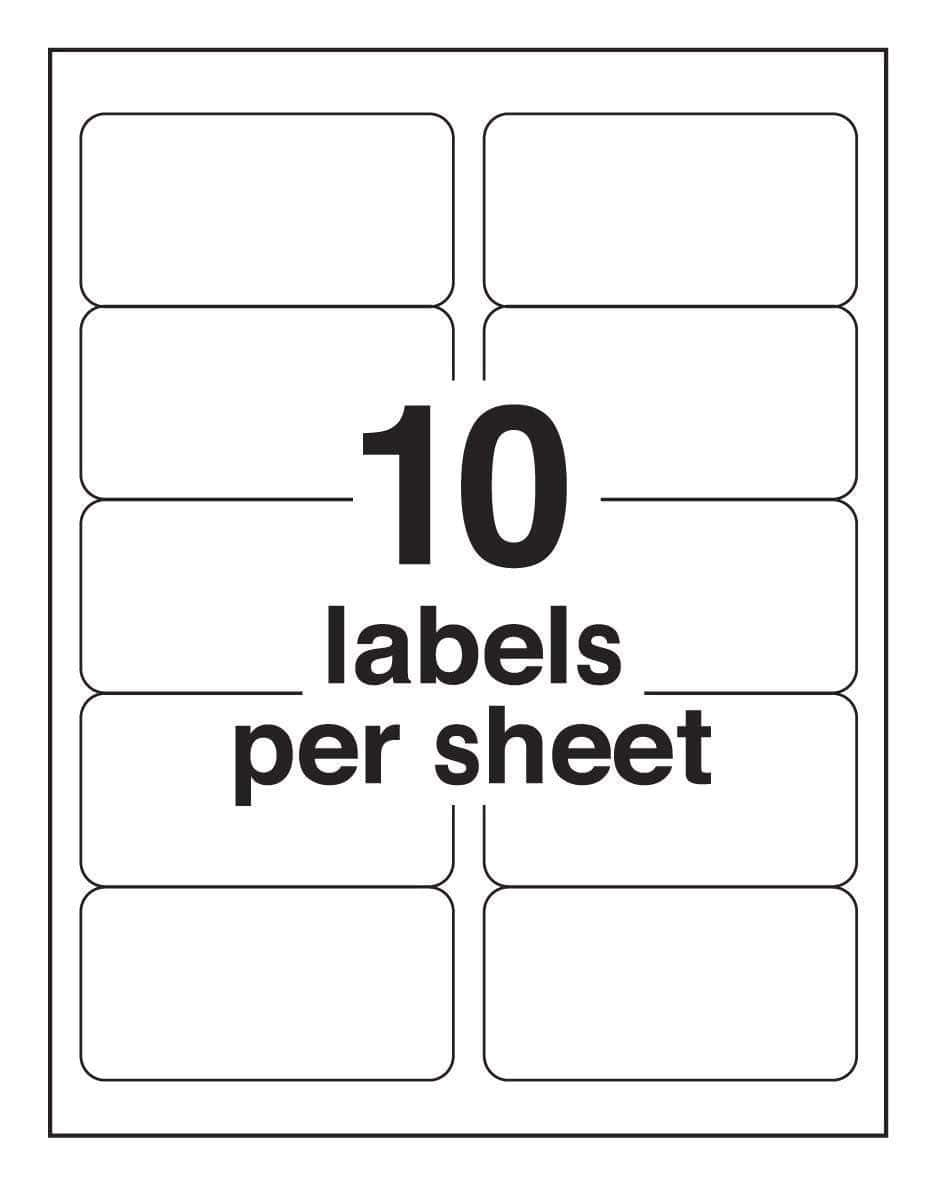 Avery 2×4 Mailing Label Template Avery 10 Labels Per Sheet Template Ondy Spreadsheet