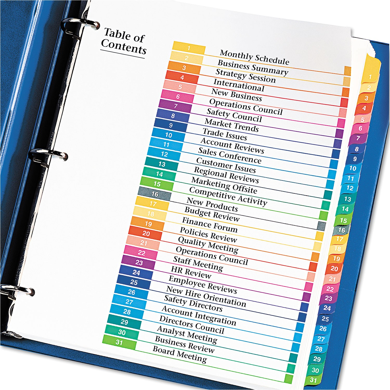 Avery 31 Tab Template Ready Index Customizable Table Of Contents Multicolor