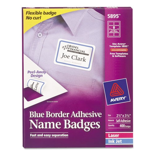 avery blue border removable adhesive name badges 5895