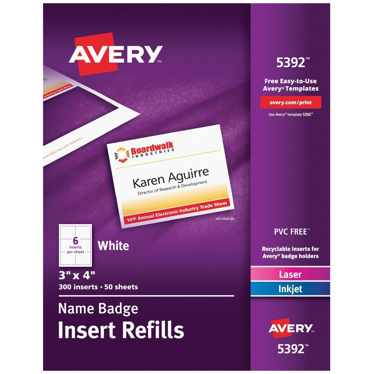 Avery 4×3 Name Badge Template Avery 5392 Name Badge Insert Refill 4 Inch Width X 3
