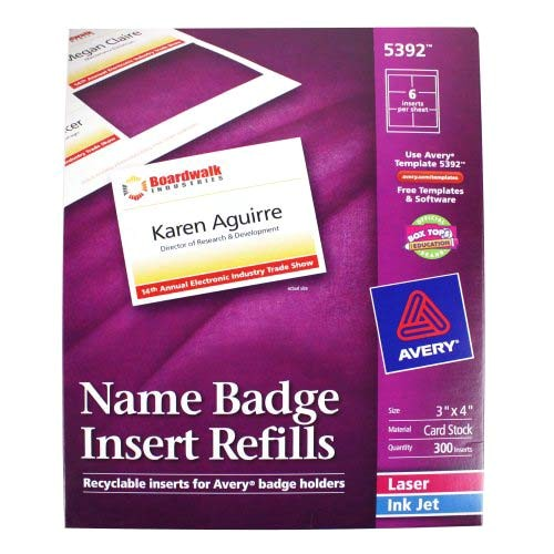 Avery 4×3 Name Badge Template Avery Name Badge Insert Refills 3 Quot X 4 Quot 6up 50 Sheets
