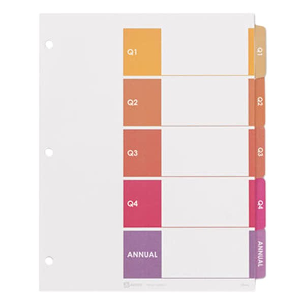 Avery 5 Tab Divider Template Avery 13153 Ready Index 5 Tab Customizable Table Of