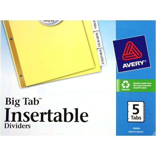 Avery 5 Tab Divider Template Avery 5 Tab Clear Dividers Buff Paper Worksaver Big Tab