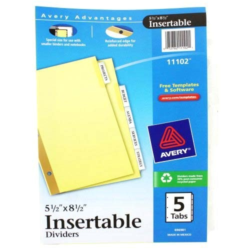 avery 5 tab clear worksaver insertable tab dividers 11102