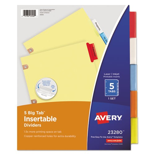Avery 5 Tab Divider Template Avery Insertable Big Tab Dividers 5 Tab Letter Wagner