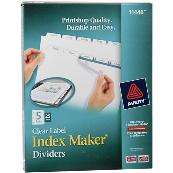 avery 11446 clear label index maker dividers white 5 tab box of 25 sets