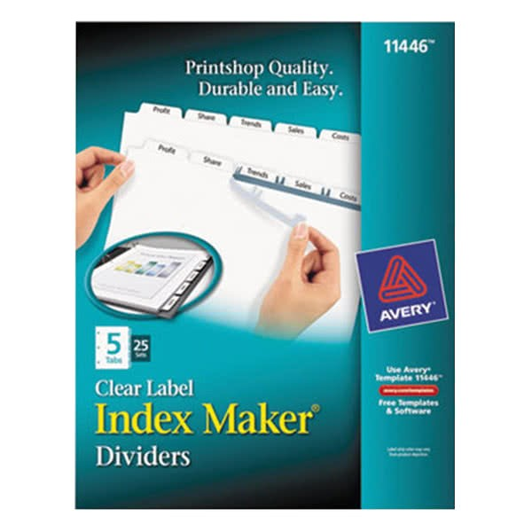 Avery 5 Tab Index Template 11446 Avery 11446 Index Maker 5 Tab Divider Set with Clear Label