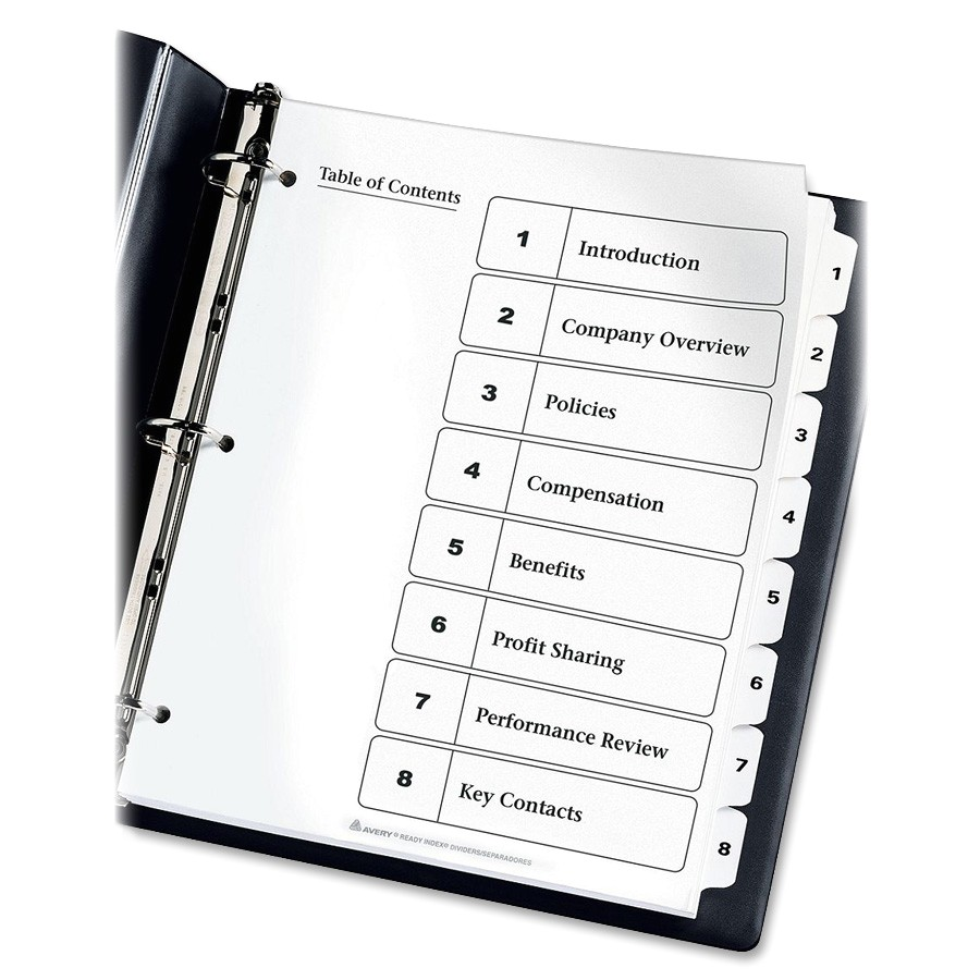 Avery 5 Tab Table Of Contents Template Avery Index Dividers Classic 1 8 Tab Blk Wht Ld Products