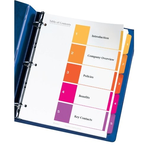 Avery 5 Tab Table Of Contents Template Avery Ready Index Table Of Contents Dividers 5 Tab Set 3