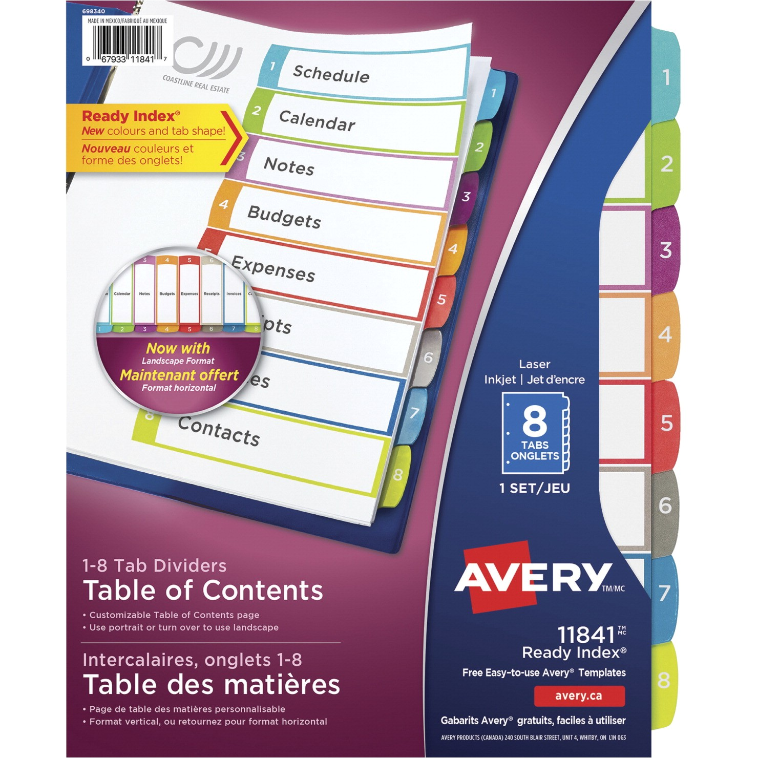 Avery 5 Tab Table Of Contents Template Avery Ready Index Table Of Contents Dividers 8 Tabs