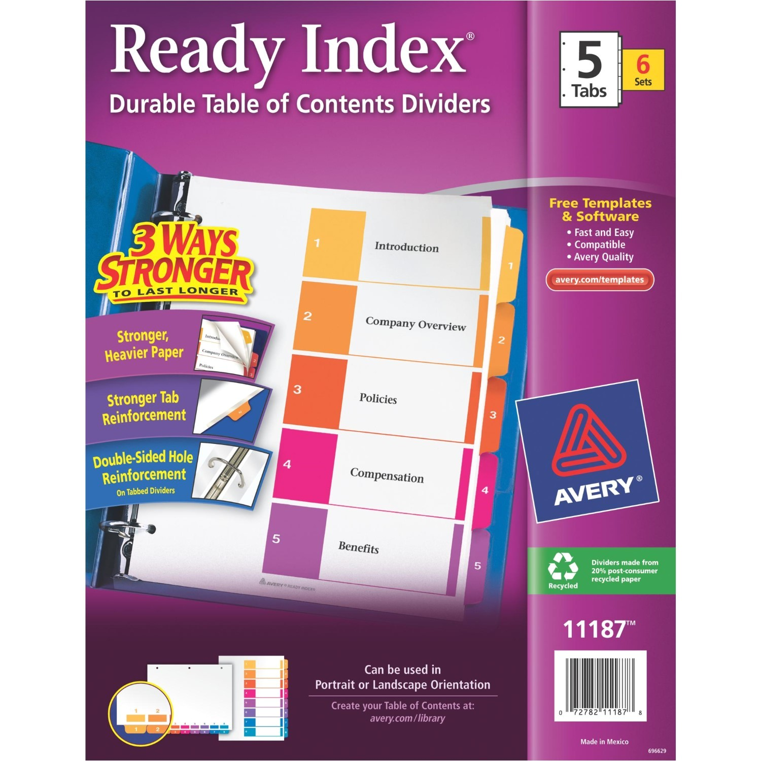 Avery 5 Tab Table Of Contents Template Avery Ready Index Table Of Contents Dividers assorted