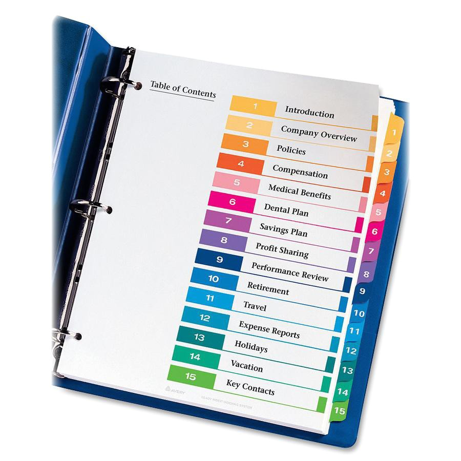 Avery 5 Tab Table Of Contents Template Avery Ready Index Table Of Contents Reference Divider Ld