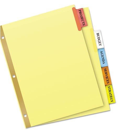 insertable big tab dividers 5 tab letter ave11109