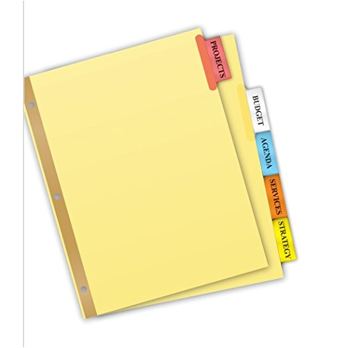 Avery 5 Tab Template 11109 Avery Big Tab Insertable Dividers 5 Tab Set 11109