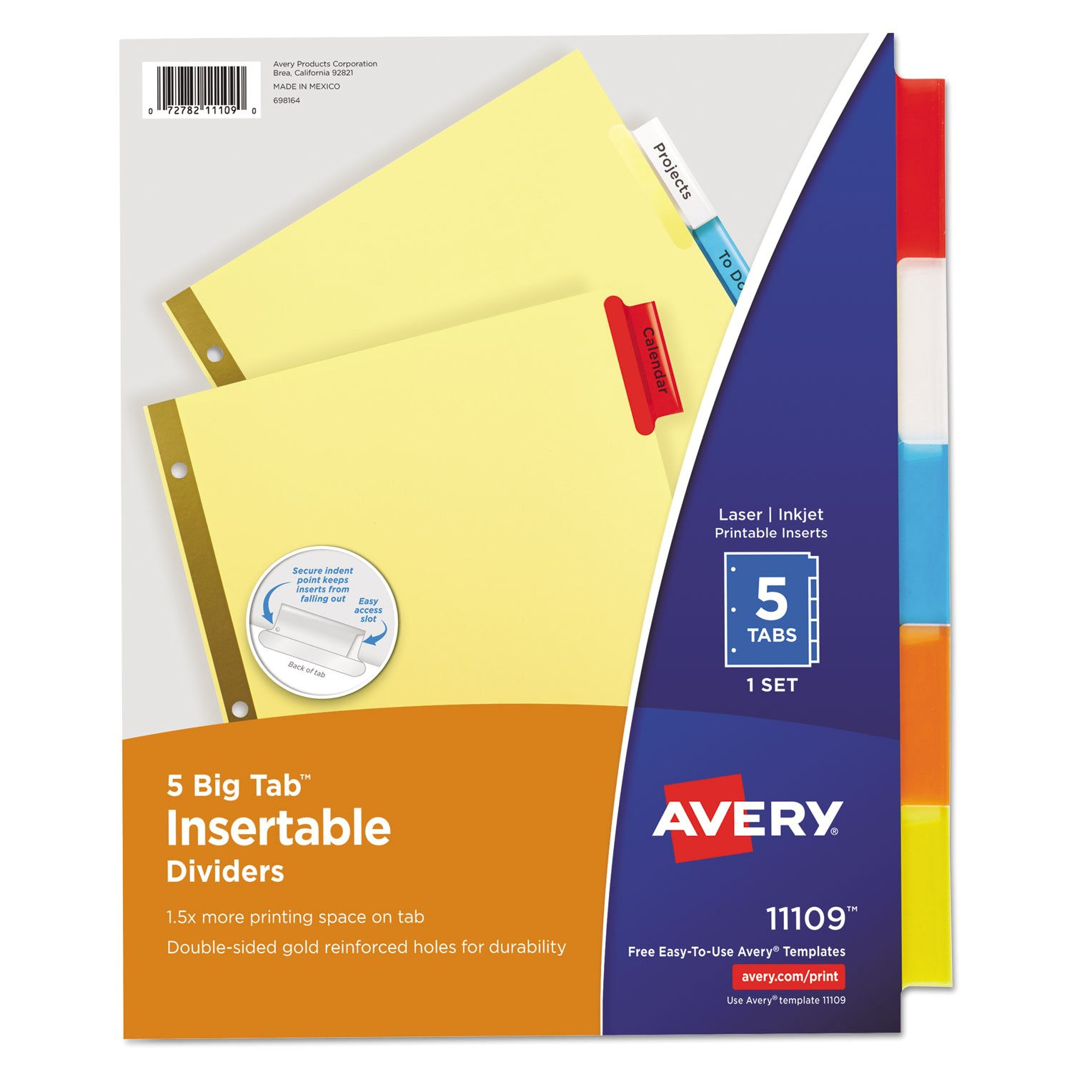 ave11109 worksaver big tab reinforced dividers multicolor tabs 5 tab letter buff