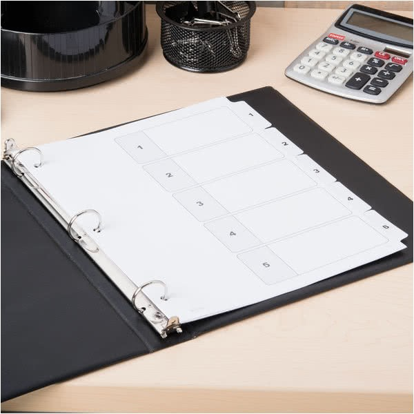 Avery 5 Tab Template 11130 Avery 11130 Ready Index 5 Tab White Table Of Contents Dividers