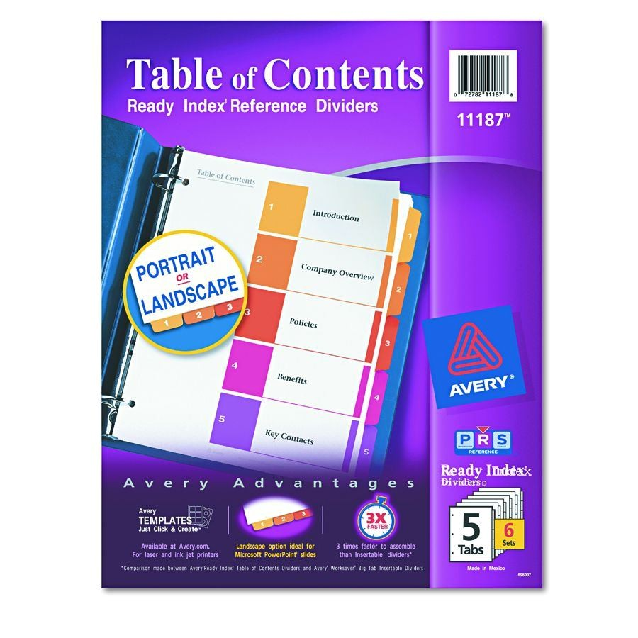 avery dennison table of contents divider index binder ltr5tab pack of 6 model 11187