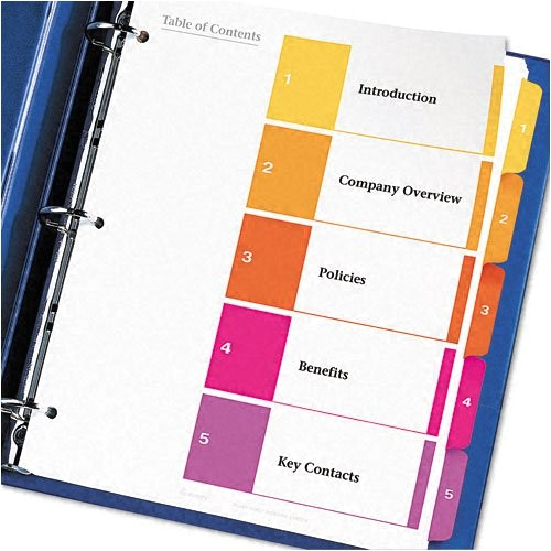 avery ready index table of contents dividers 5tab set 6 sets 11187 ap b00006ibw4