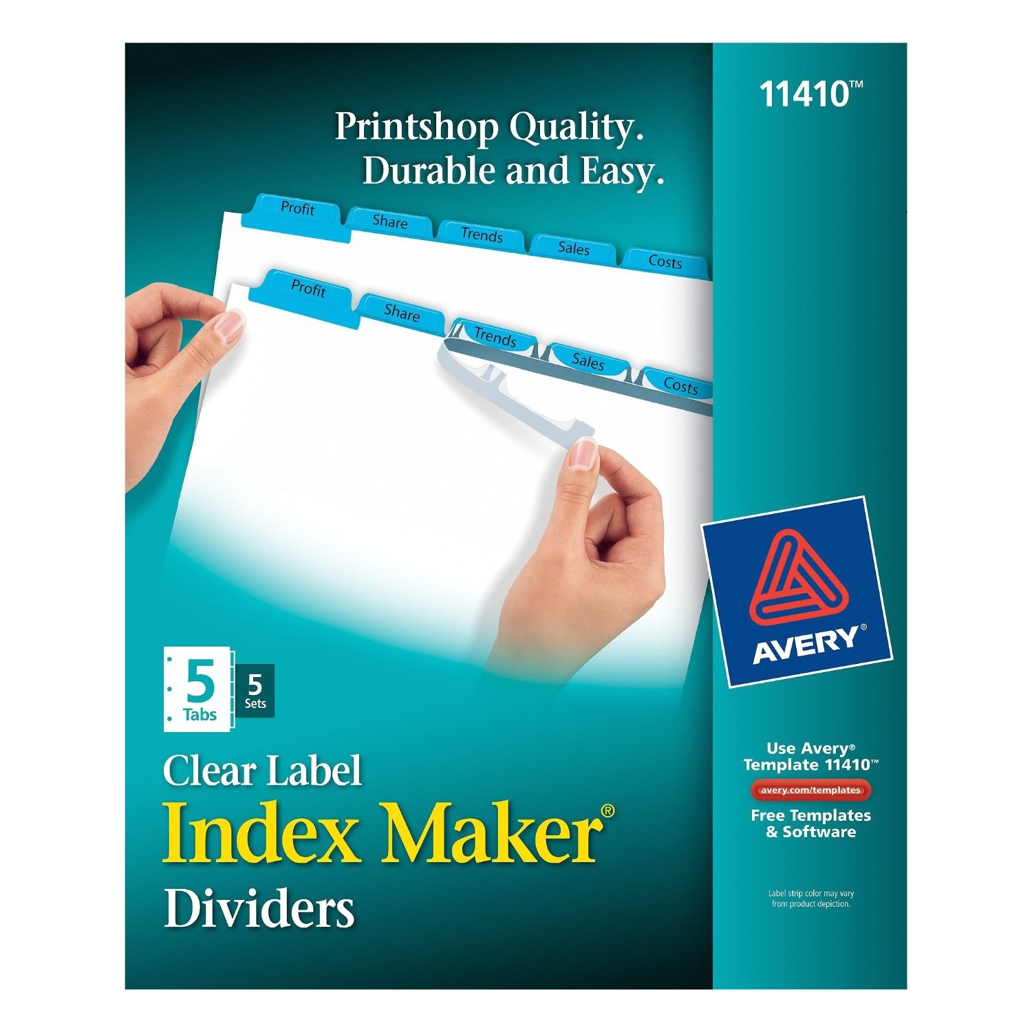avery index maker clear label dividers easy apply label strip 5 tab blue