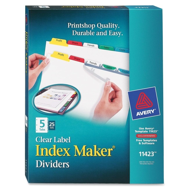 ave11423 avery 11423 index maker punched clear label tab divider