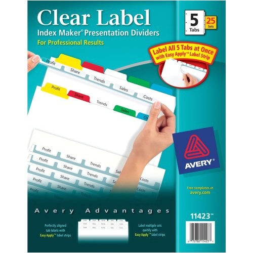 Avery 5 Tab Template 11423 Avery Index Maker Clear Label Dividers Easy Apply Label