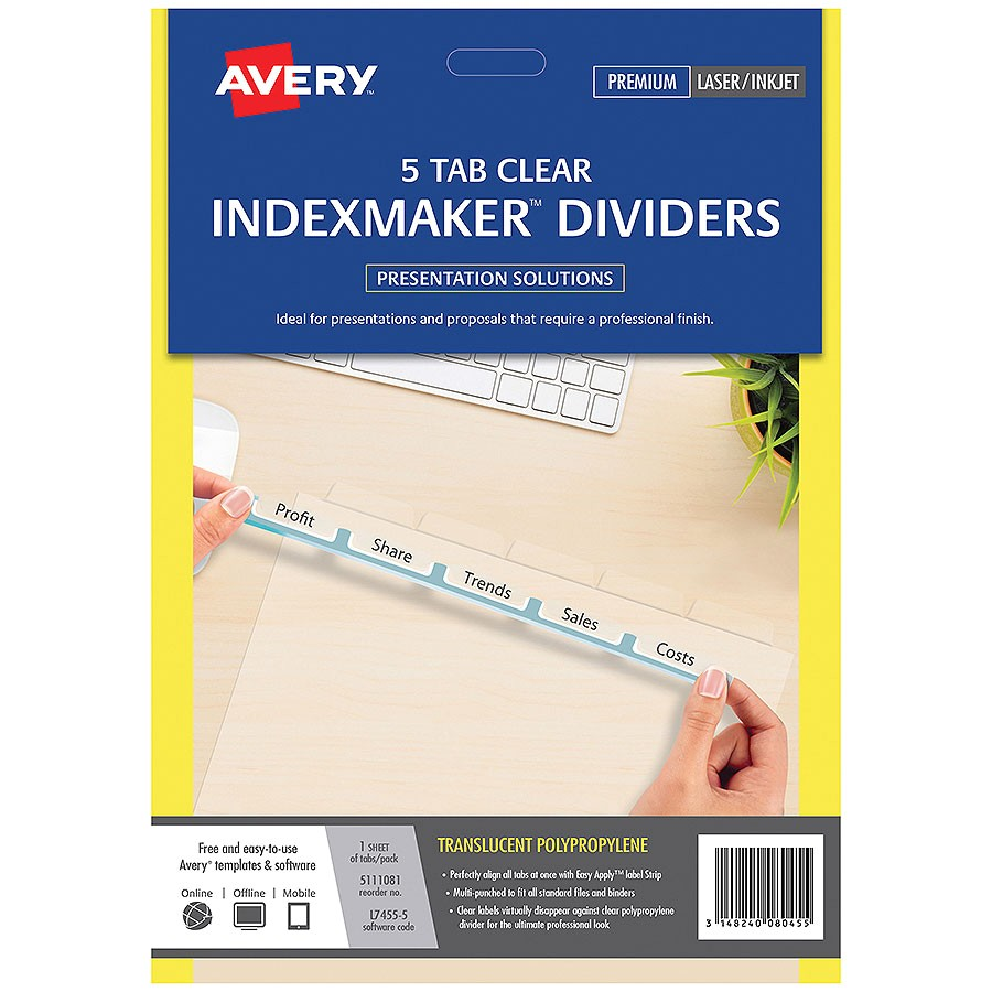 Avery 5 Tab Template 11423 Avery Indexmaker Dividers A4 5 Tab Cos Complete Office