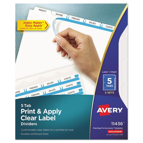 print and apply clear label dividers wwhite tabs 5 tab letter 5 sets ave11436