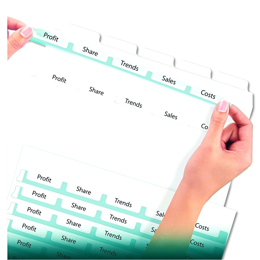 Avery 5 Tab Template 11436 Avery 5 Tab Clear Label Dividers Template Image