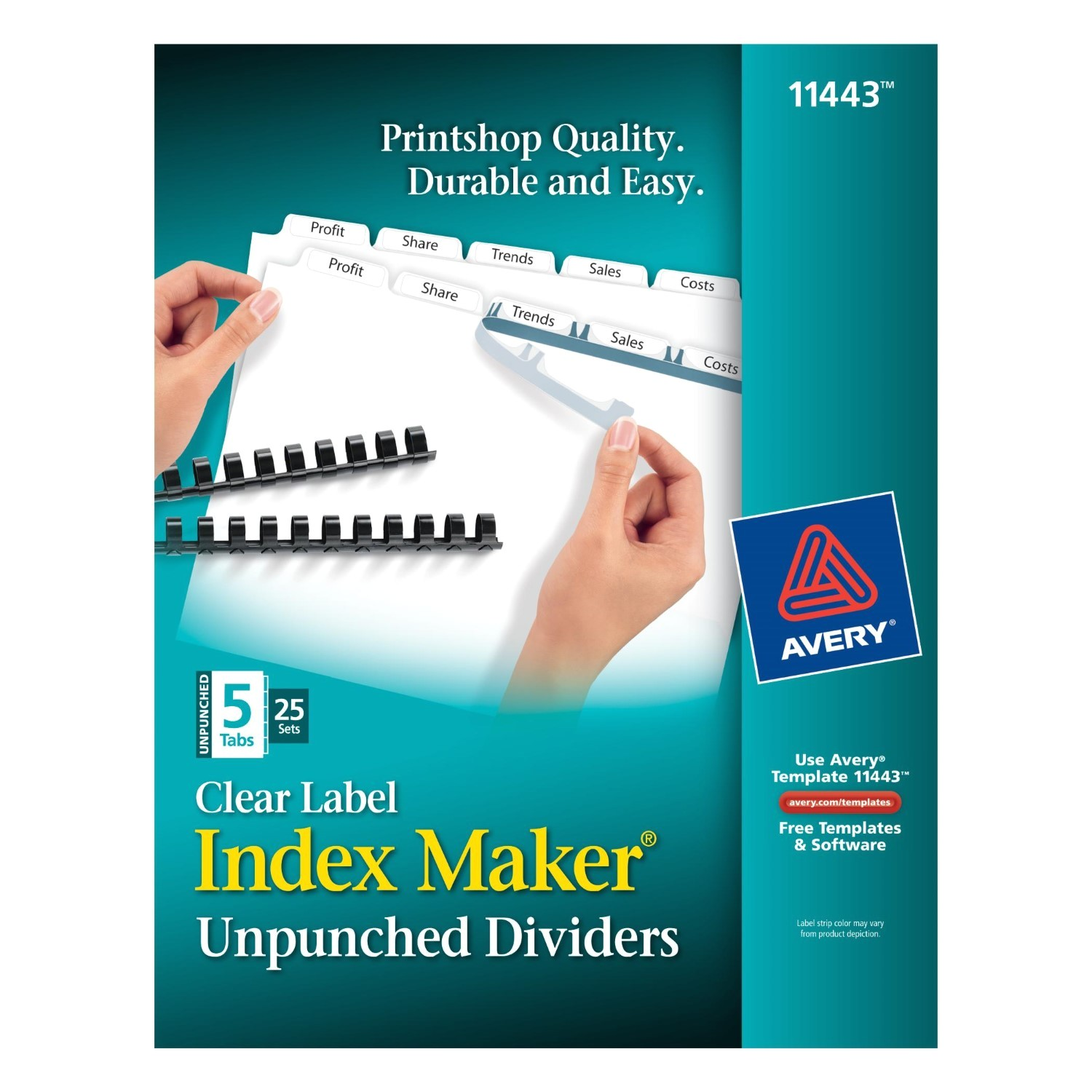 Avery 5 Tab Template 11443 Avery Index Maker Unpunched Label Dividers White 5 Tabs