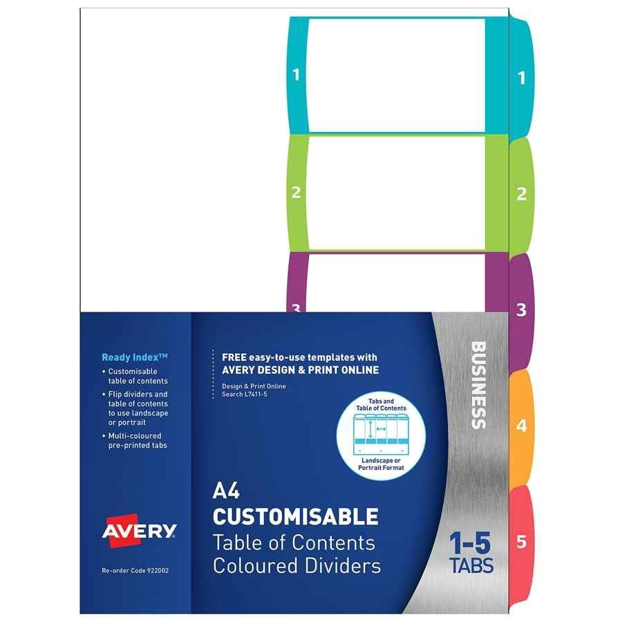 Avery 5 Tab Template 11443 Avery Readyindex Dividers A4 1 5 Indx3005 Cos