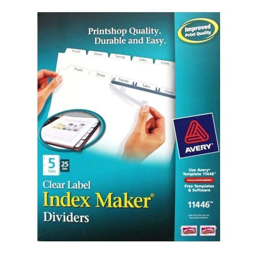 avery 5 tab 11 x 8 5 clear label punched dividers 25 sets 11446