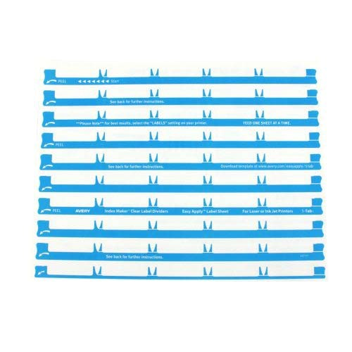 Avery 5 Tab Template 11446 Avery 5 Tab 11 Quot X8 5 Quot Clear Label 3 Hole Punched Dividers