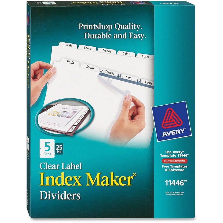 avery index maker print and apply clear label dividers with white tabs ave11446