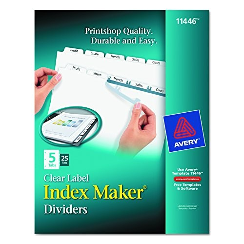 Avery 5 Tab Template 11446 Avery Print Apply Clear Label Dividers Index Maker Easy