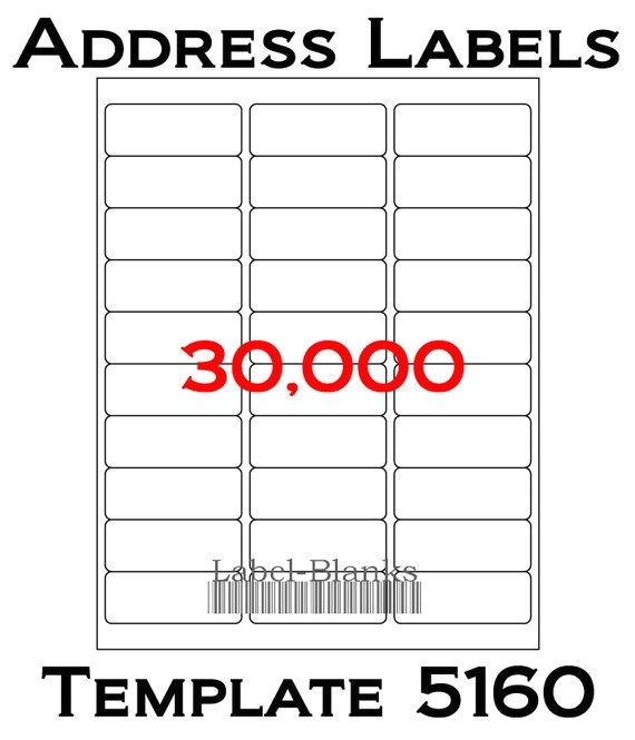 Avery 5160 Compatible Template Laser Ink Jet Labels 1000 Sheets 1 X 2 5 8