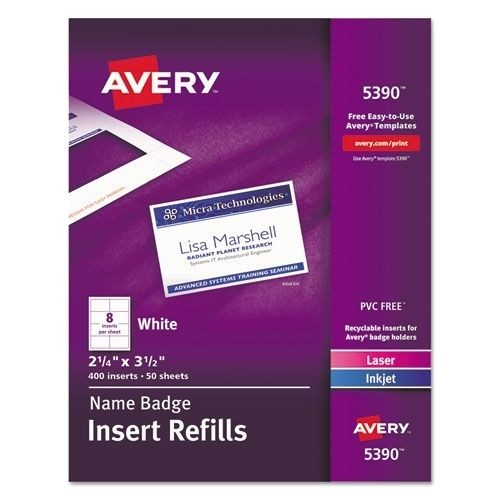 Avery 5390 Name Badge Template Avery Name Badge Insert Sheet Refill Only 5390 Ebay