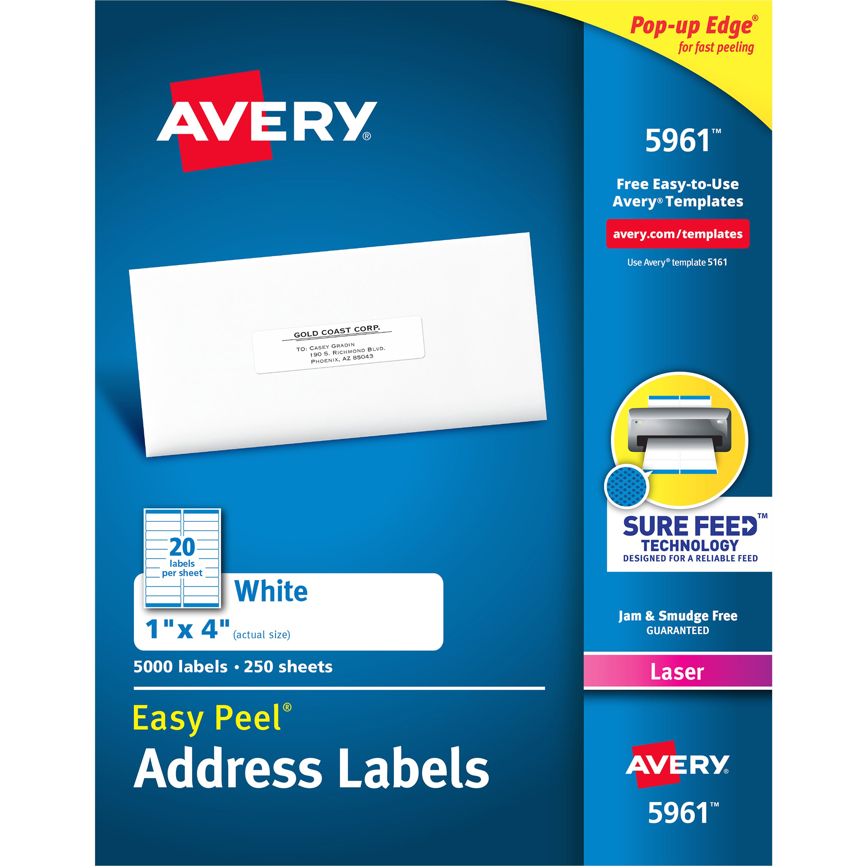 Avery 5961 Label Template Avery White Easy Peel Address Labels Ave 5961