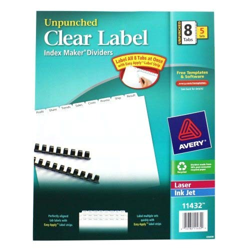 avery 8 tab 11 x 8 5 clear label unpunched dividers 5pk 11432