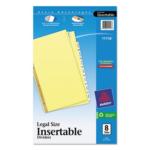 insertable standard tab dividers 8 tab legal ave11116