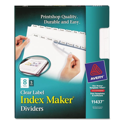 Avery 8 Tab Index Maker Clear Label Divider Template Avery 11437 Index Maker Print Apply Clear Label Dividers