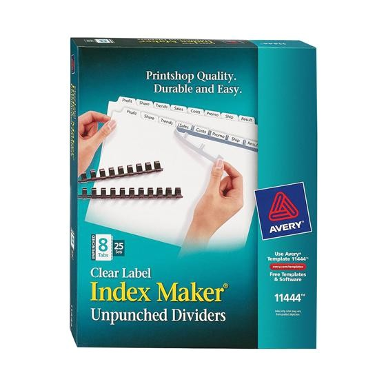 avery 11444 clear label index maker unpunched dividers white 8 tab box of 25 sets