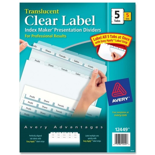 Avery 8 Tab Index Maker Clear Label Divider Template Avery Index Maker Easy Apply Clear Label Divider Ld Products