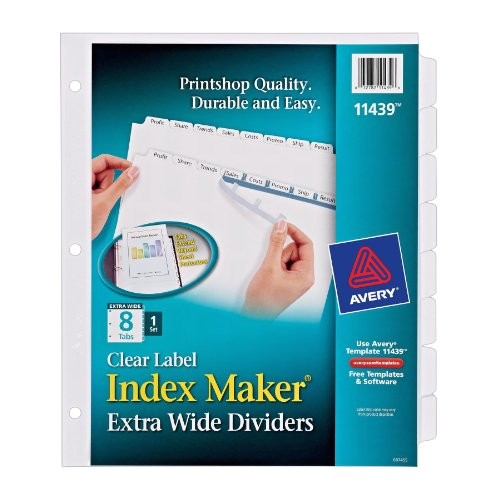 avery index maker extra wide clear label dividers white 8 tab set 11439