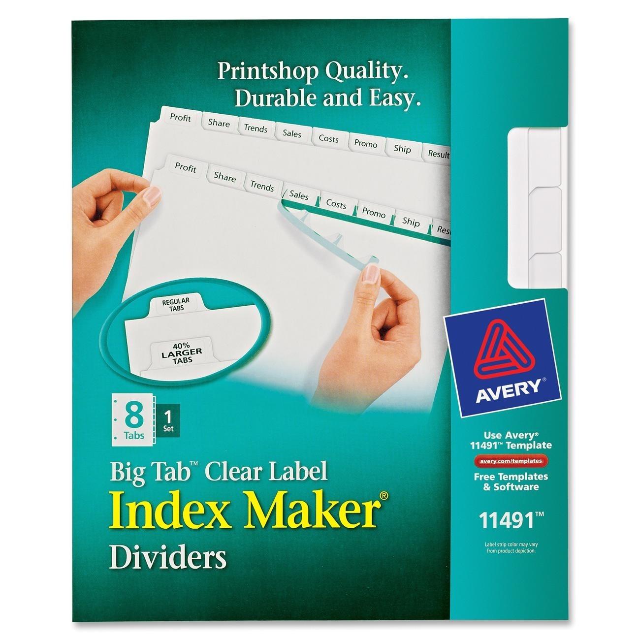 avery 11491 big tab index maker clear label divider 2755912 prd1
