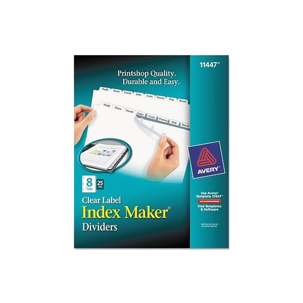 Avery 8 Tab Index Template 11447 Avery Index Maker Clear Label Dividers 8 Tab Letter