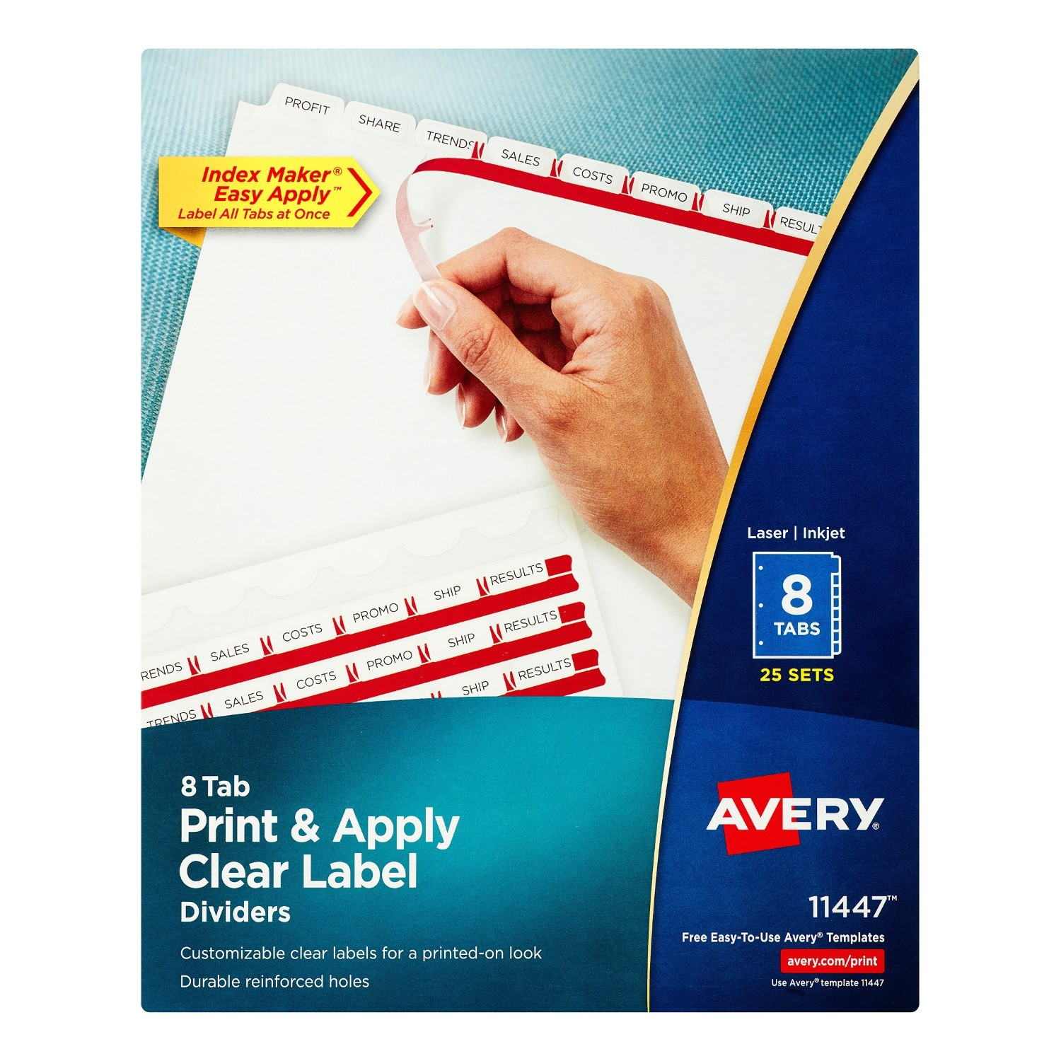 Avery 8 Tab Index Template 11447 Avery Index Maker Label Dividers White 8 Tabs Divider