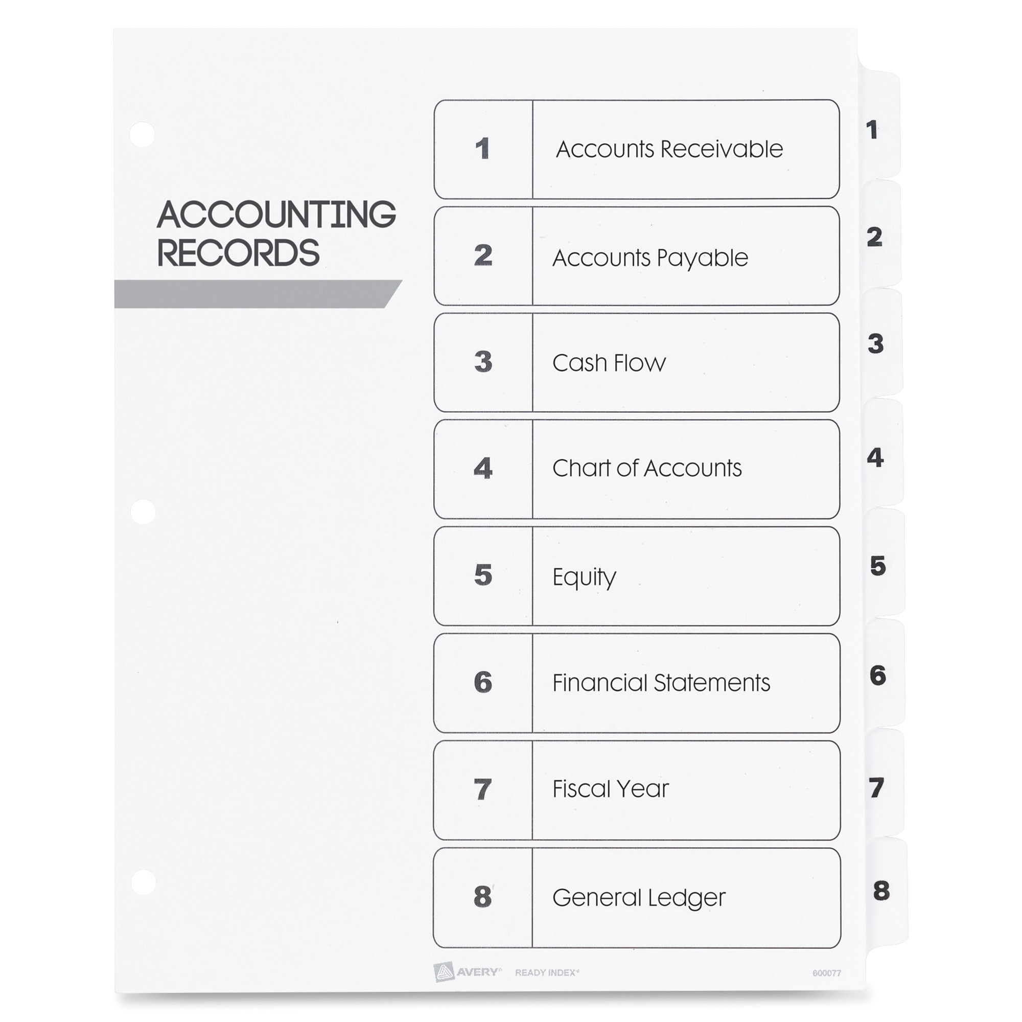 Avery 8 Tab Table Of Contents Template Avery Index Dividers Classic 1 8 Tab Blk Wht Ld Products